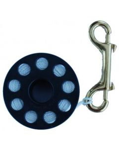 Plastic finger reel with butterfly carabiner. Available in 4 sizes