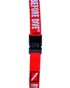 "Luggage belt with combination lock. ""REMOVE BEFORE DIVE"""